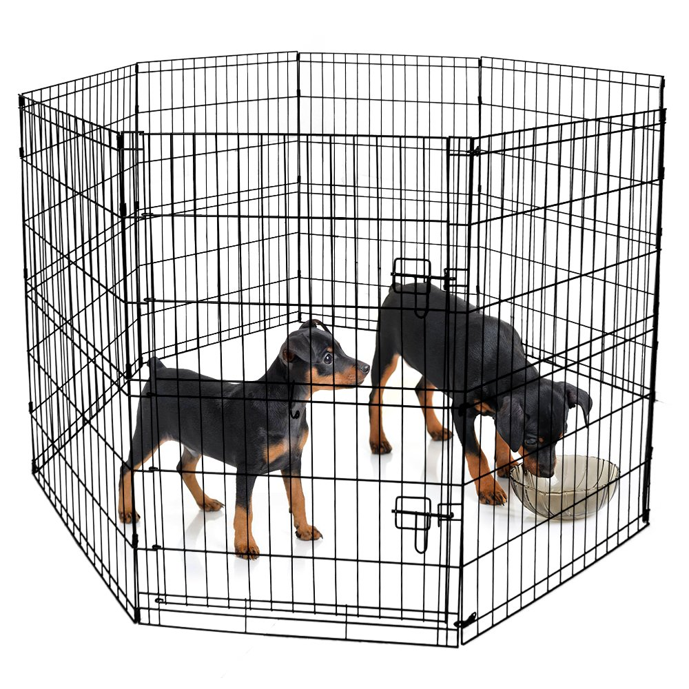 BV Pet Foldable Exercise Pen / Dog Playpen, 8 Panels with Single Door (36''H)