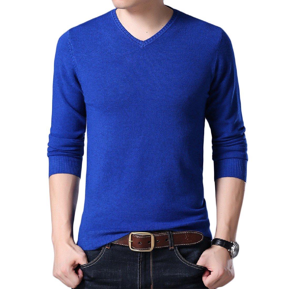 SportsX Mens All-Match Knit Plus Size Autumn Long Sleeve Tshirt Tops Tees