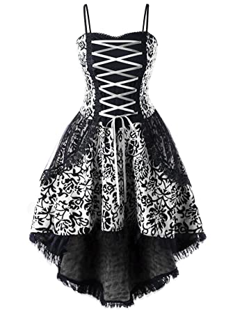 KENANCY Women\'s Floral Lace Up Vintage Dress Plus Size Strappy High Low  Layered Corset Dress