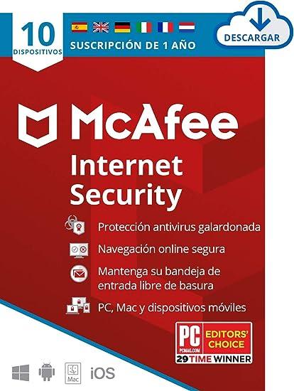 McAfee Internet Security 2020, 10 Dispositivos, 1 Año, Software ...