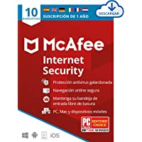 McAfee Internet Security 2020, 10 Dispositivos, 1 Año, Software Antivirus, Manager de Contraseñas, Seguridad Móvil, PC…
