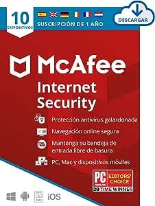 McAfee Internet Security 2021, 10 Dispositivos, 1 Año, Software Antivirus, Manager de Contraseñas, Seguridad Móvil, PC/Mac/Android/iOS, Edición Europea, Código de activación enviado por email
