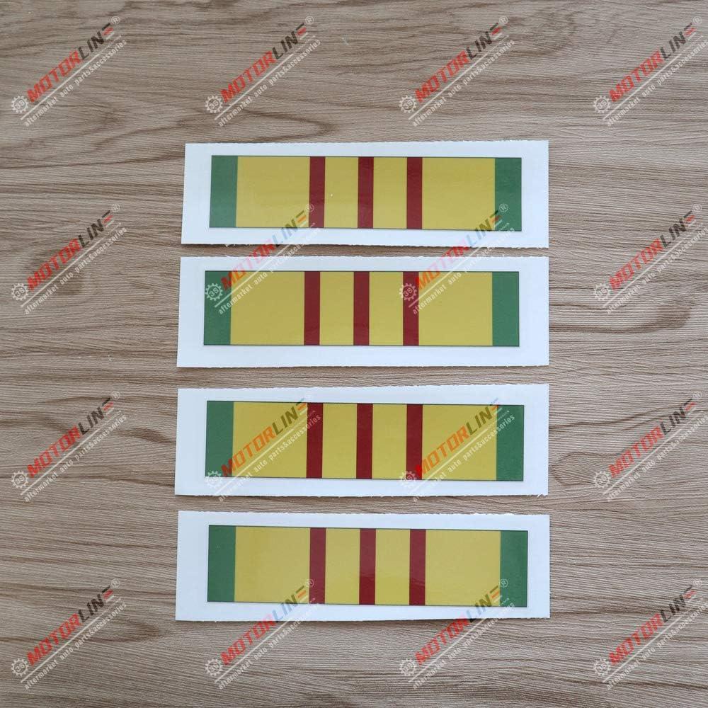 3S MOTORLINE 4X Glossy 6'' Vietnam Service Ribbon Decal Sticker Car Laptop Window Vinyl