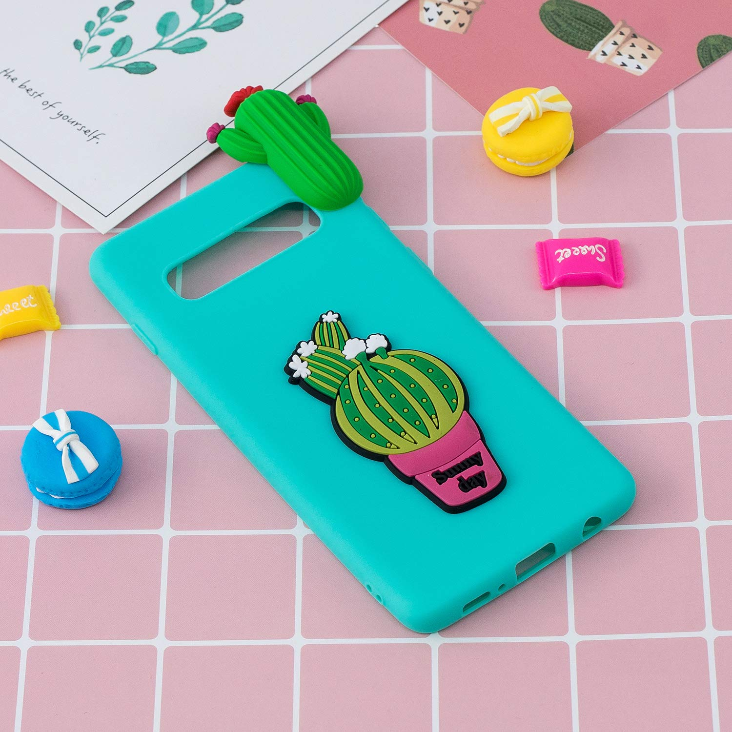 TPU Case for Samsung Galaxy S10,Moiky Funny 3D Cactus Design Ultra Thin Soft Silicone Resistant Back Cover Phone Case Unique Style Protect Case by MOIKY (Image #6)