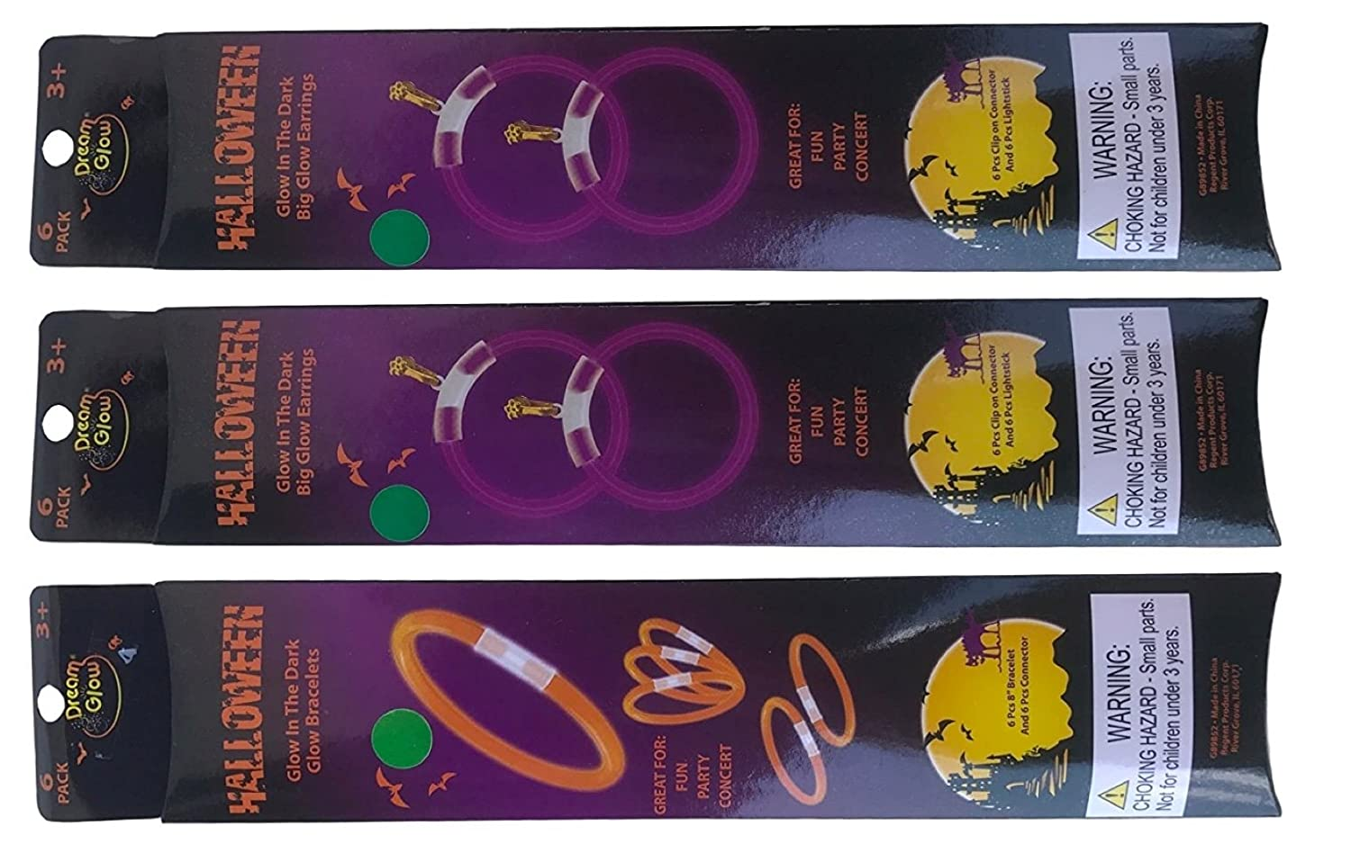 Glow in the Dark Earrings and Bracelets Sets of 6