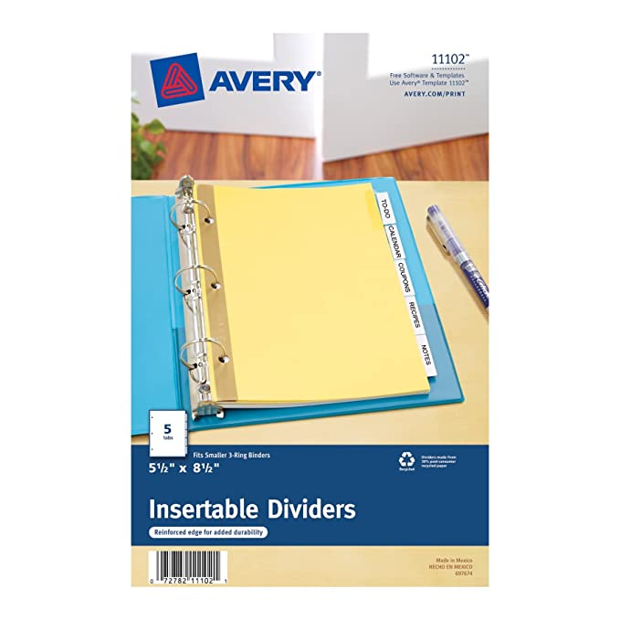 amazon com avery mini worksaver insertable tab dividers 5 5 x 8 5
