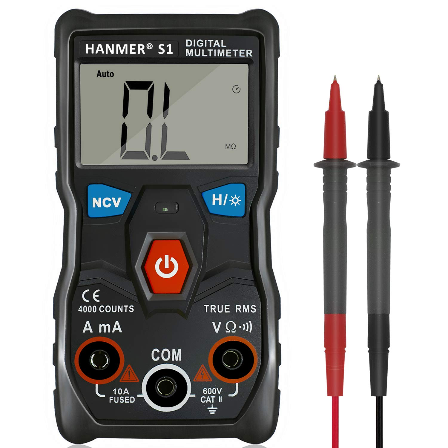 Hanmer Multimeter, Auto-Ranging Digital Multimeter, Electrical Tester  with NCV,True RMS 4000 Counts AC/DC Voltmeter Ammeter Ohmmeter, Resistance, Live Line Digital Testers with LCD Backlight. Electrical Tester with NCV