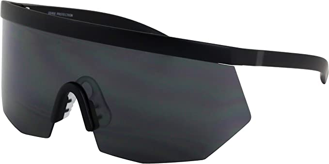 CLASSIC VINTAGE 90/'s RETRO SPORTY WRAP Style SUN GLASSES Black Frame Blue Lens