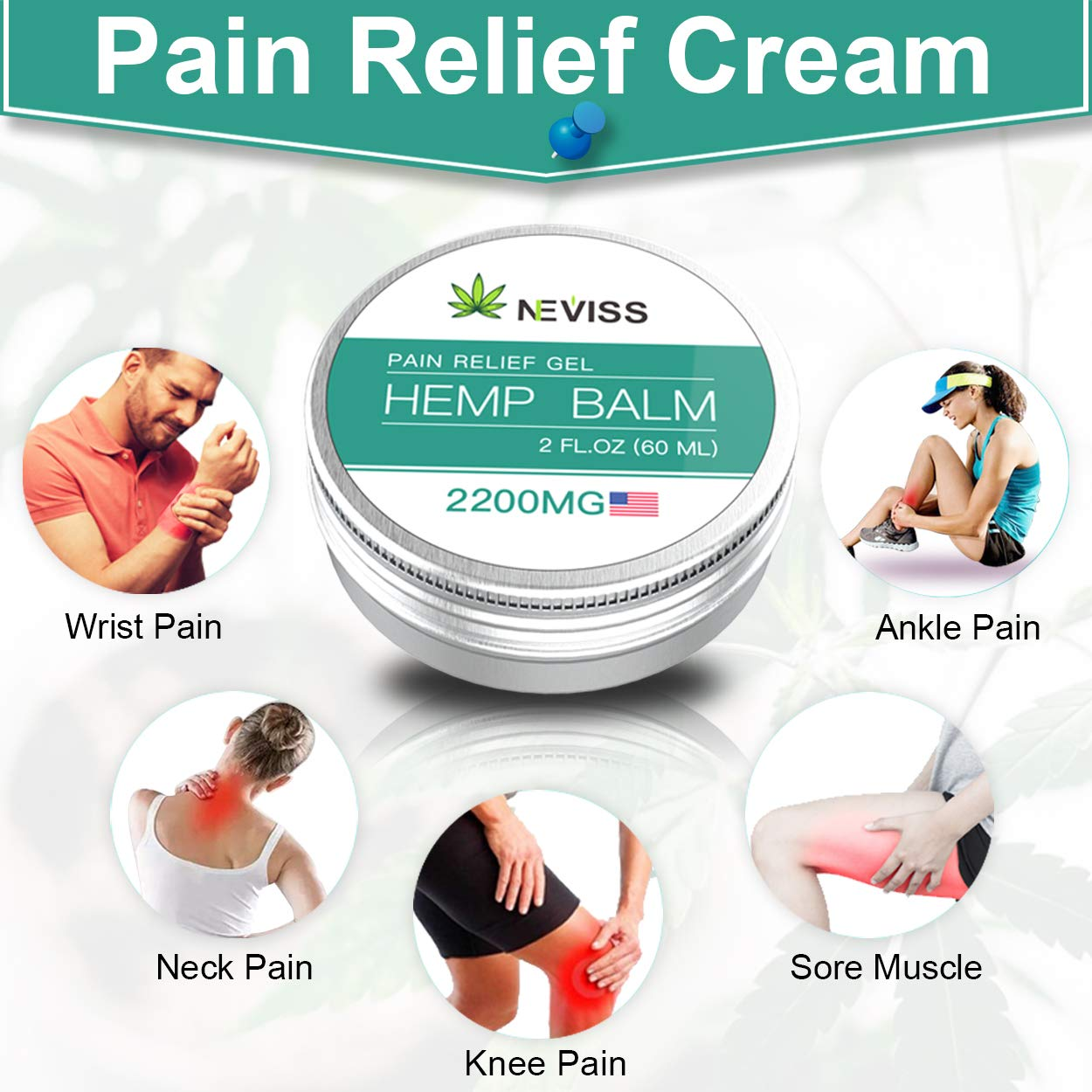 Hemp Gel for Pain Relief, Organic Hemp Active Gel, Natural Hemp Pain Relief Cream for Back, Knee, Neck, Nerve & Joint Pain, Premium Hemp Herbal Extract Balm for Inflammation & Sore Muscles