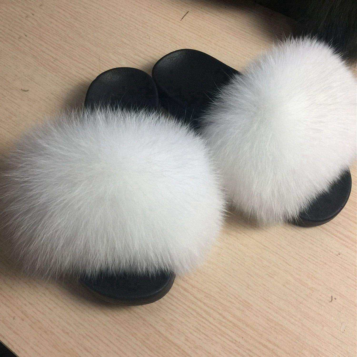 White Blingbling-honored High end Real Fox Fur Slipper Women Slides Sliders Fashion Spring Summer Autumn Fluffy Fur Lady S6018