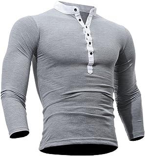 Modaworld Uomo Top Fitness Magliette da Uomo,Casual Slim Fit Manica Lunga T-Shirt Solid Color Camicetta in Cotone Primavera Top