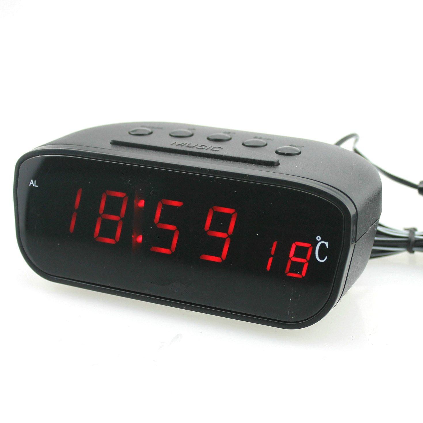 Grand, vue, rouge, LED, voiture, oiseau, son, musique, réveil, thermomètre