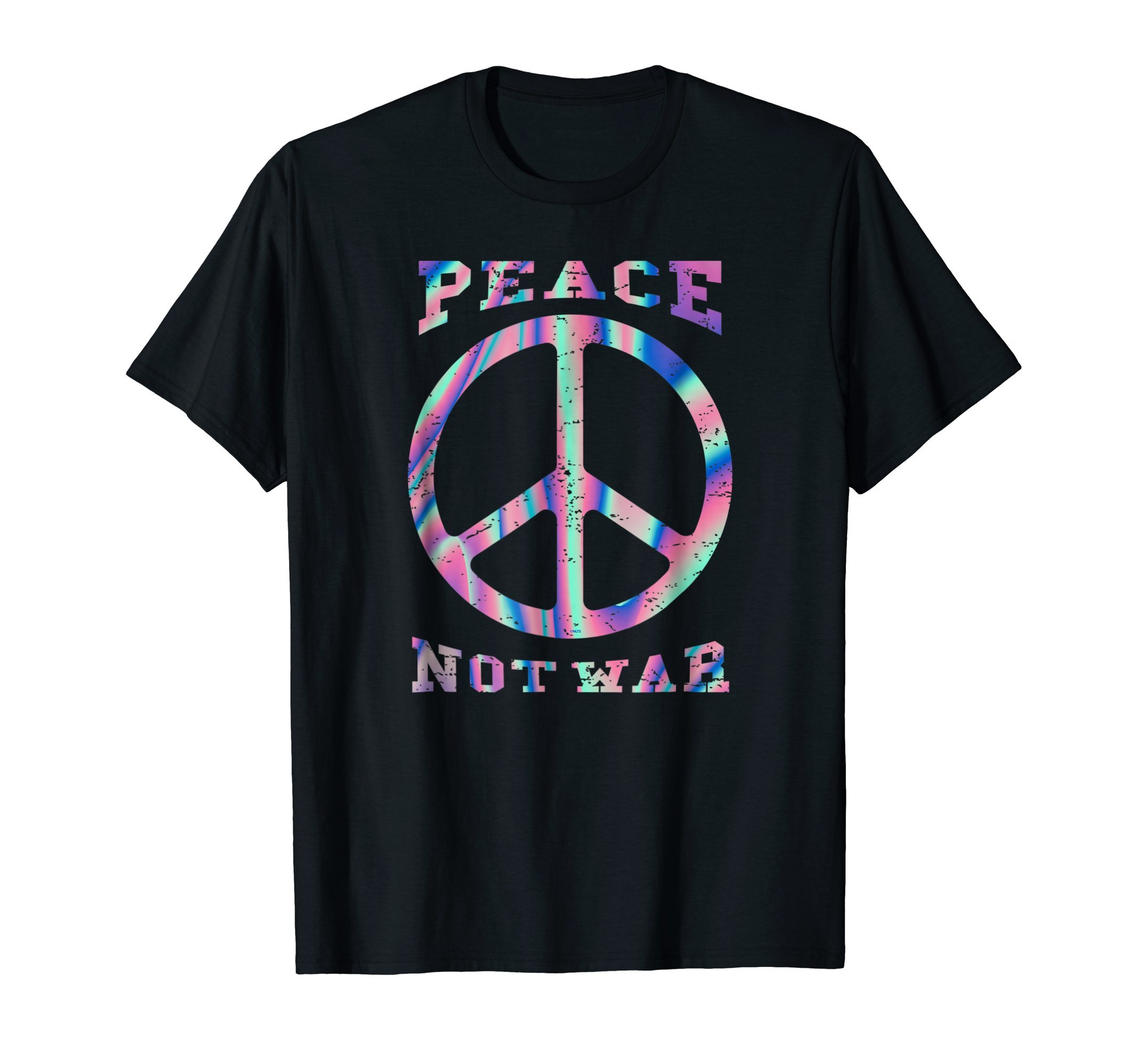 Retro-Peace-Not-War-Holographic-Hippie-T-Shirt-Tee-Gifts