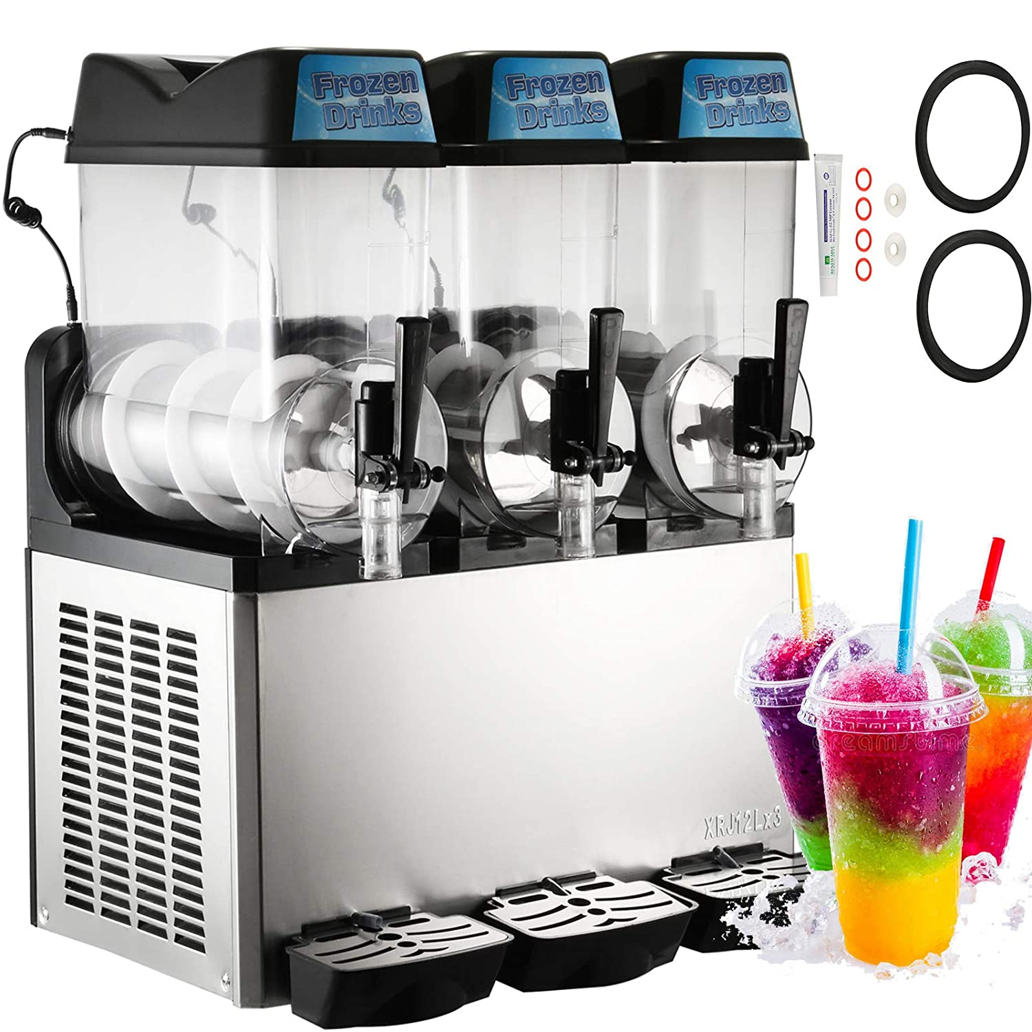 Happybuy 110V Commercial Slushy Machine 600W Stainless Steel Margarita Smoothie Frozen Drink Maker Suitable Perfect for Ice Juice Tea Coffee Making 12L x 3 Tank Sliver