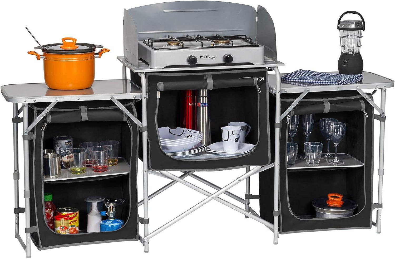 Berger Cocina Box cocina de camping XL, negro/gris, estructura de aluminio, 5 compartimentos, con protector de viento y bolsa, construcción de armario