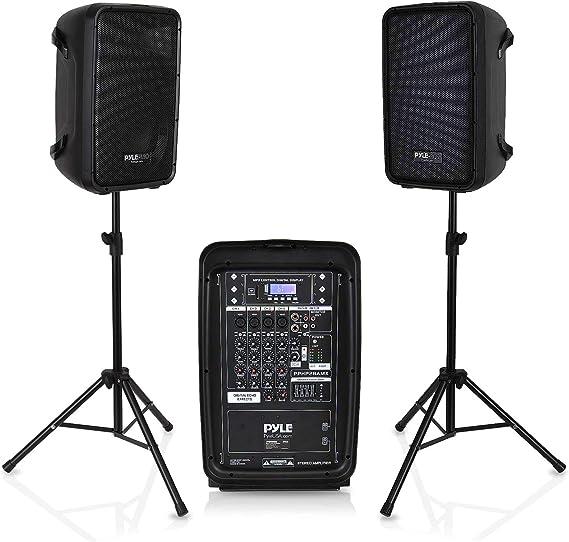 PA Speaker DJ Mixer Bundle - 300 W Portable Wireless Bluetooth Sound System w/ USB SD XLR 1/4