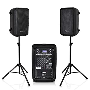 """PA Speaker DJ Mixer Bundle - 300 W Portable Wireless Bluetooth Sound System with USB SDXLR 1/4"""" RCA Inputs - Dual Speaker, Mixer, Microphone, Stand, Cable - For Home / Outdoor Party - Pyle PPHP28AMX"""