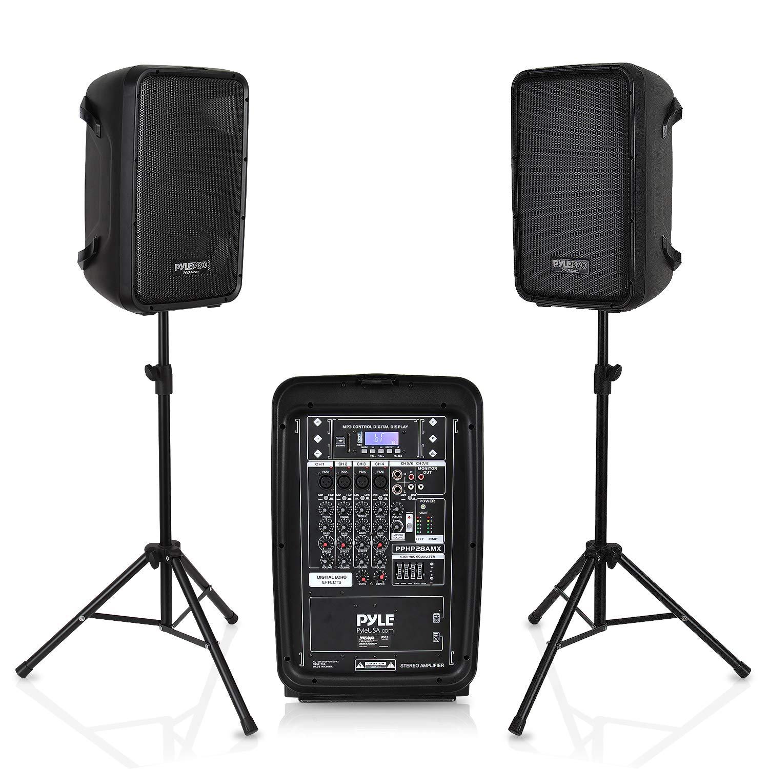 PA Speaker DJ Mixer Bundle - 300 W Portable Wireless Bluetooth Sound System with USB SD  XLR 1/4'' RCA Inputs - Dual Speaker, Mixer, Microphone, Stand, Cable - For Home / Outdoor Party - Pyle PPHP28AMX