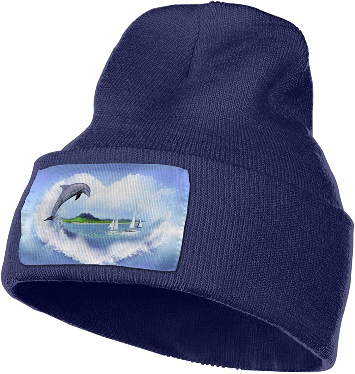 Ocean Sea Dolphin Beanie Hat Cuffed Plain Skull Knitted Hat Fashion
