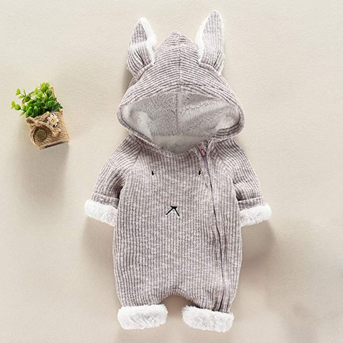 Amazon.com: Matoen Baby Boy Girl Cartoon Hooded 3D Ear Romper Plus Warm Jumpsuit Clothes: Clothing