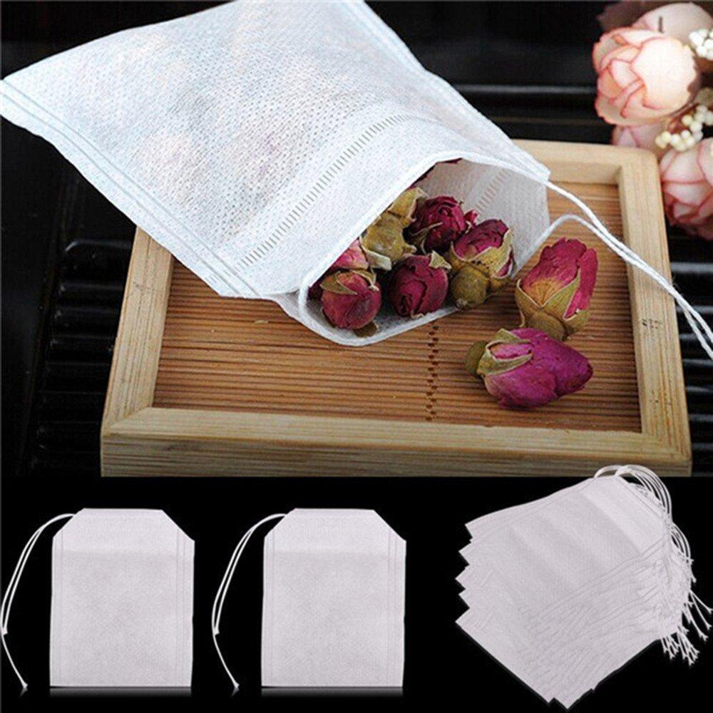 Euone  Tea Packet, 100 pcs Empty Teabags String Heat Seal Filter Paper Herb Loose Tea Bag