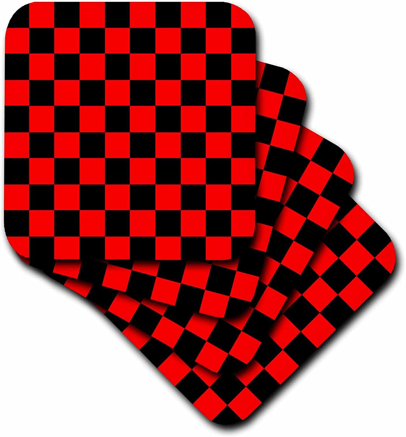 3dRose cst/_20433/_1 Red and Black Checkered Print Soft Coasters Set of 4