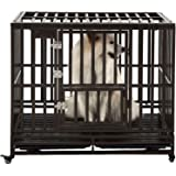 SMONTER Heavy Duty Dog Crate Strong Metal Pet Kennel Playpen with Two Prevent Escape Lock, Large Dogs Cage with Wheels