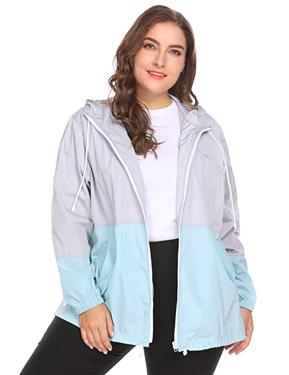 IN'VOLAND Women's Plus Size Raincoat Rain Jacket Lightweight Waterproof Coat Jacket Windbreaker with Hooded Grey best women's raincoats