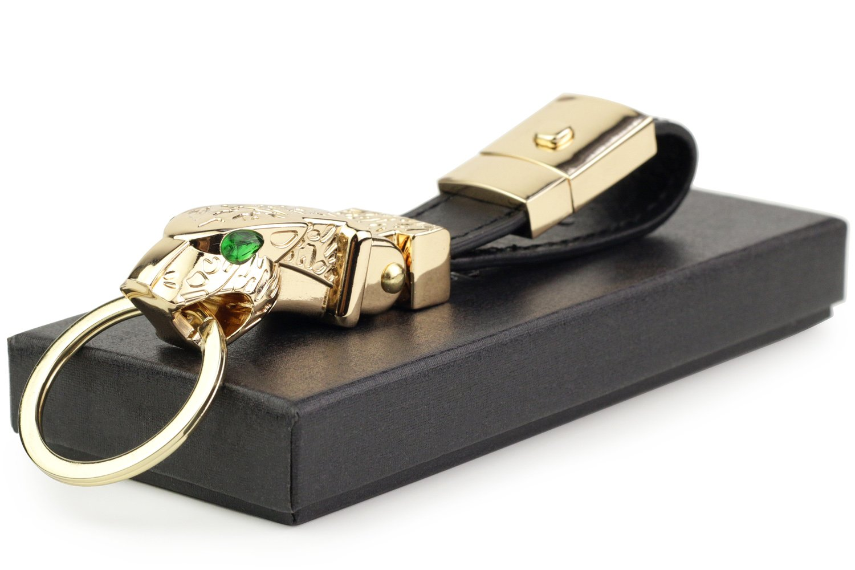 dpob Luxury Ostrich grain Leather Valet Keychain Elegant Designer Key Chain with 1 Detachable Key Rings Black