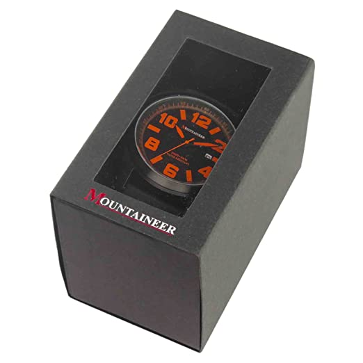 Amazon.com: Mountaineer Mens Sport Watch Black Silicone Band Oversized Big Face Orange Numerals Reloj Hombre MN8041: Watches