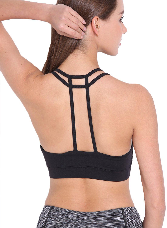 DODOING Damen Sport BH Gepolstert Elastizität Bustier Yoga BH Ohne Bügel Comfort Atmungsaktiv Sports Bra Top B5009-DEAA-CN