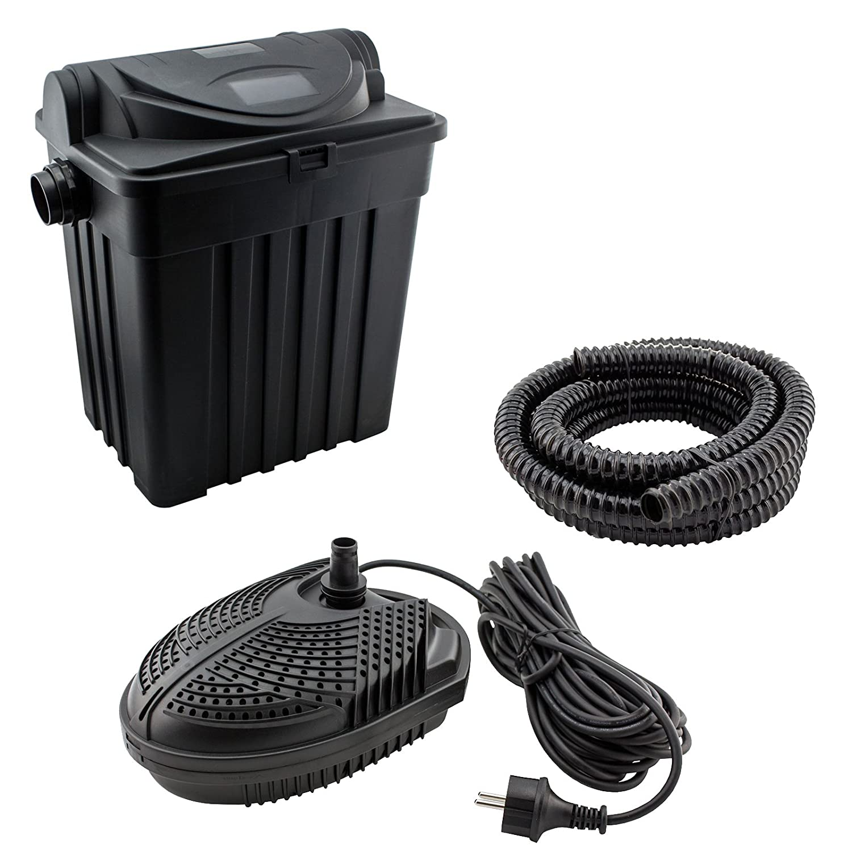JAD YT-02 - Teichfilter-Set für Teiche bis 9000L: inkl. UV-Filter, Pumpe, Schlauch und Zubehör, Filtersystem UVC 11 Watt Teichpumpe 2000l/h