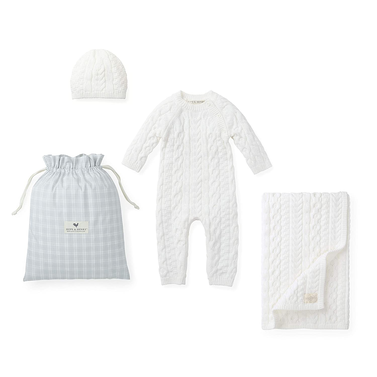 418f012d1ca1 Amazon.com  Hope   Henry Layette Ivory Cable Gift Set  Clothing