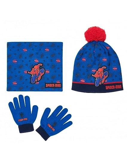Ensemble Snood, bonnet et gants enfant garçon Spider-man Bleu de 3 à 8ans a51e28b1ef8