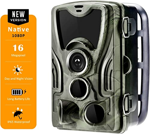 Spoga Hunting Game Trail Camera 1080p FHD Video 16MP Image, 0.3s Trigger time, 120 Detection Angle with 36 pcs IR LEDs Night Vision up to 65ft, 2.0 TFT Display, IP65 Waterproof, Black