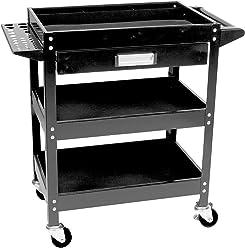 Performance Tool W54006 Locking (Black) 3 Shelf Utility CART W/Drawer