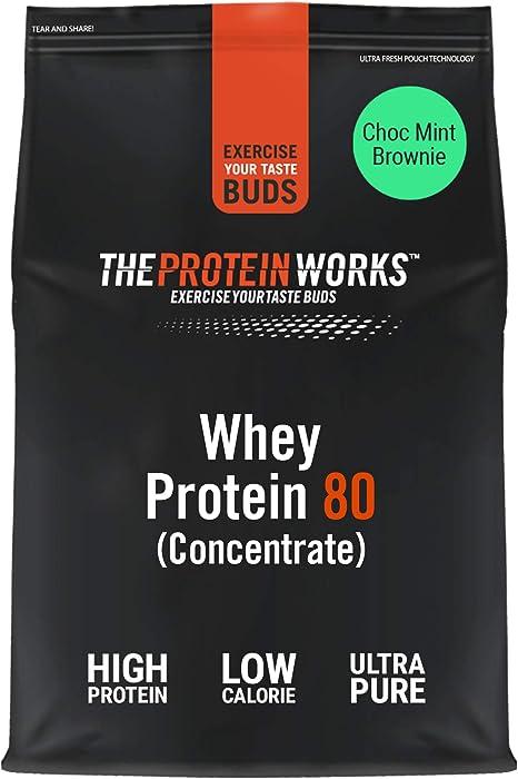 Whey Protein 80, concentrado de proteína de suero de THE PROTEIN WORKS - Brownie de chocolate y menta - 1kg