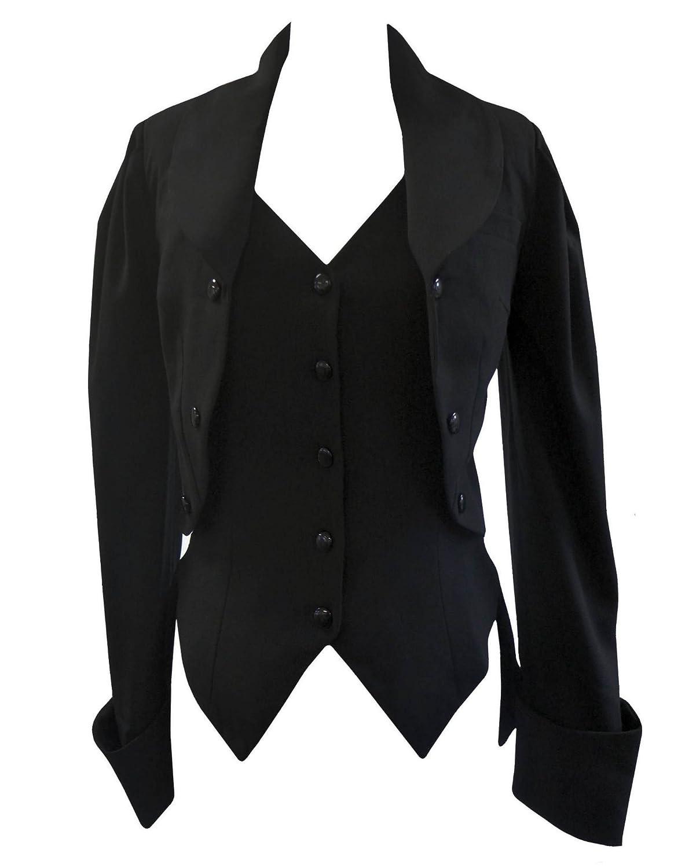 Black 18 Black Victorian Gothic Corset Fishtail Mock Waistcoat Butler Jacket Coat Sizes 830