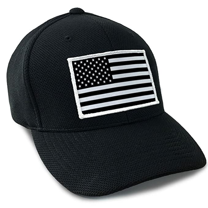 USA American Flag Tactical Flexfit Fitted Cool Dry Hat Black and ... 015edd2da35