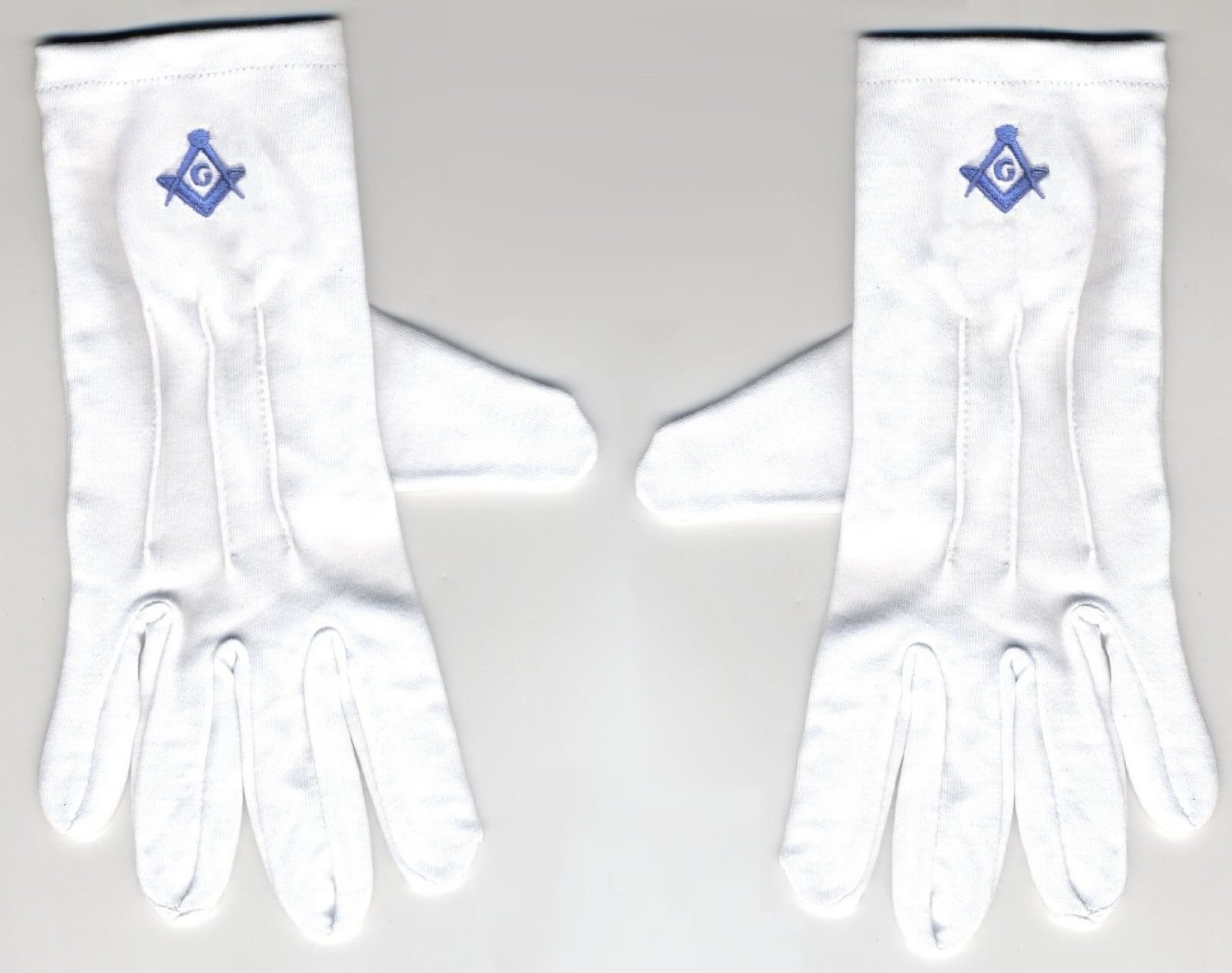 Size Large Embroidered / Stitched Blue LOGO Gloves, Masonic Logo Mason, Freemason Freemasons Free Mason Masons Masonic Masonry Freemasonry Past Masters' Emblem Shriner,york Scottish Rite, ,Grotto,movper, Craft Lodge Entered Apprentice Fellowcraft Master Rose Croix Lodge Perfection, Commandery Knights Templar by Telemosaic | CheapWin | MasonicSales | Square-and-Compasses Co..