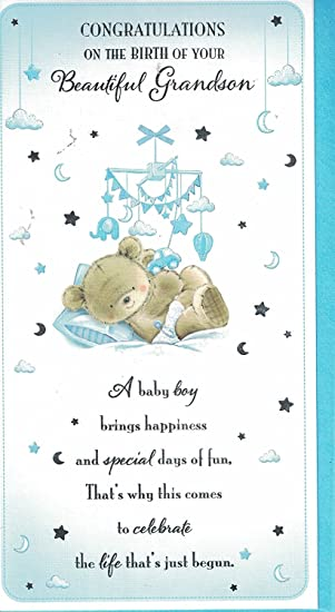 new baby grandson card baby boy congratulations on the birth of your grandson new