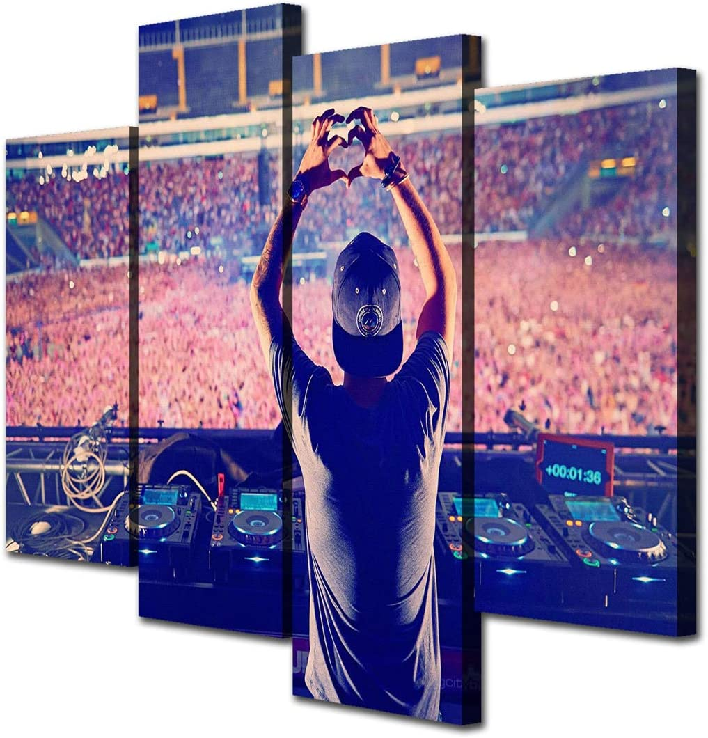 JESC 4 Panel Canvas Wall Art Avicii DJ Painting Wall Paintings Canvas Poster for Wall Decor for Men Living Room Bedroom with Wooden Frame Ready to Hang