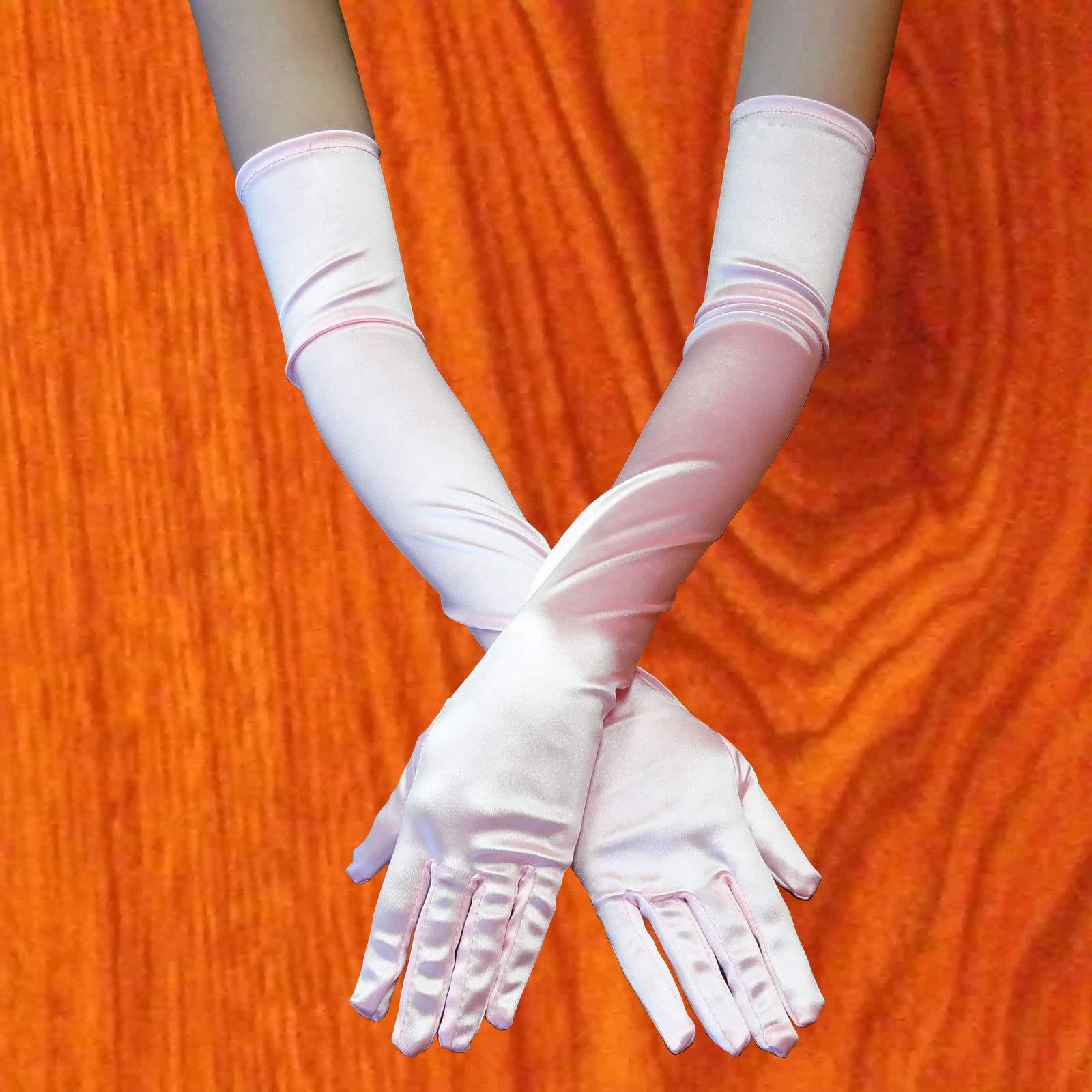 Fashion 23'' Women Arm Long Satin PINK Gloves Evening Party Bridal Wedding Opera