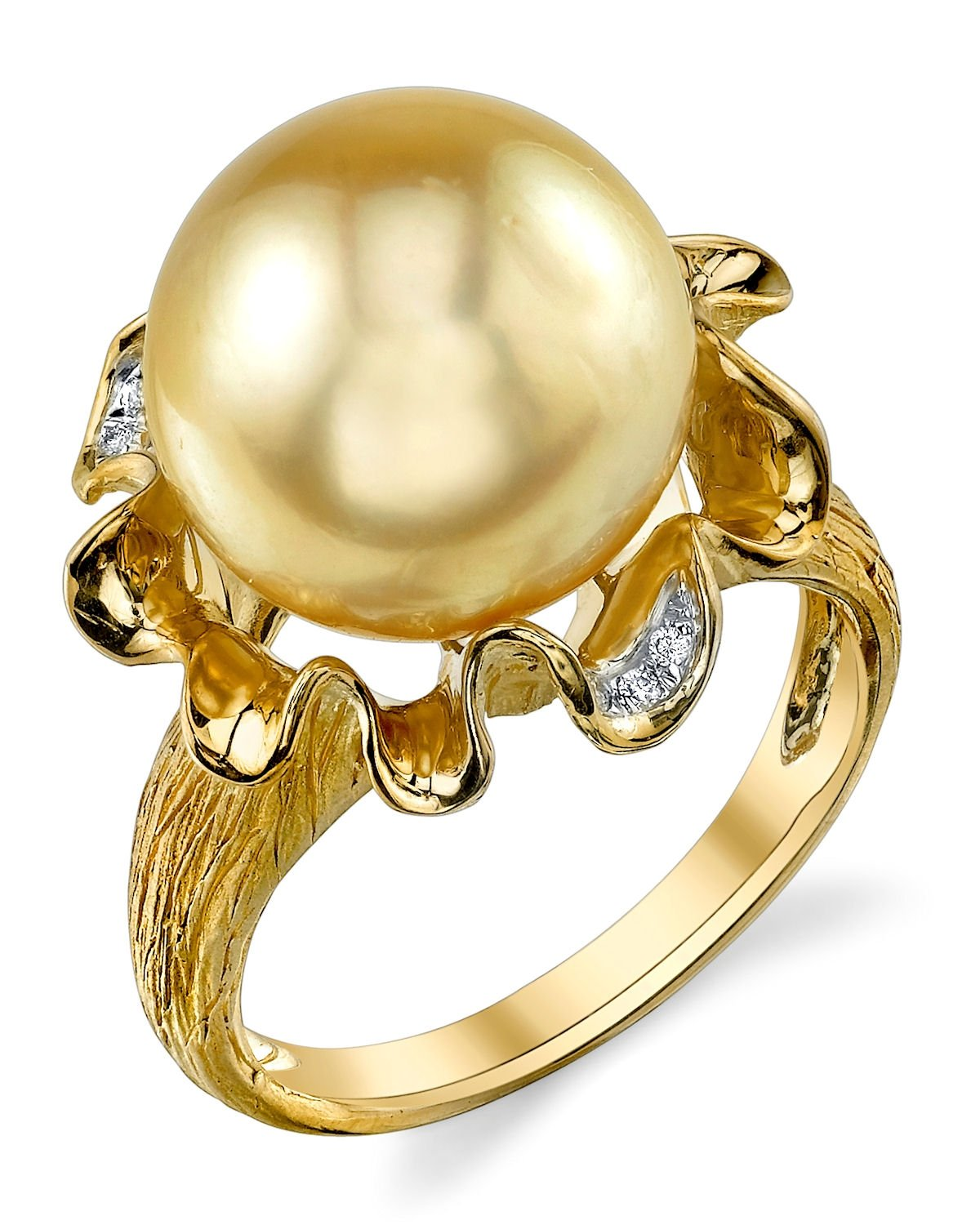 12mm Golden South Sea Cultured Pearl & Diamond Robin Ring in 14K Gold