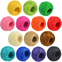 3 Plies Colorful Natural Jute Twine 14 Roll Jute Twine Rope Twine Rope for Artworks DIY Crafts Gift Wrapping Twine…