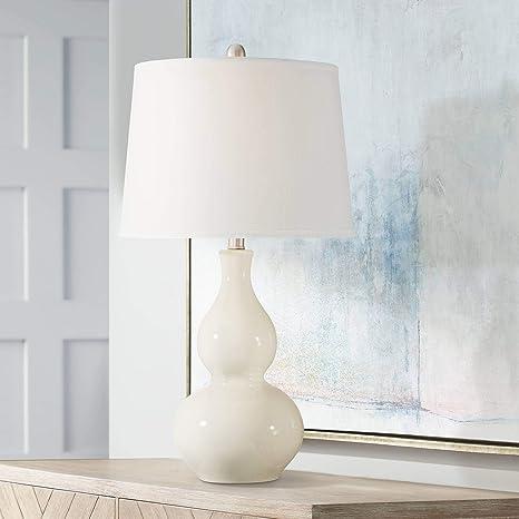 Fergie Modern Table Lamp White Cream Ceramic Double Gourd Drum Shade ...