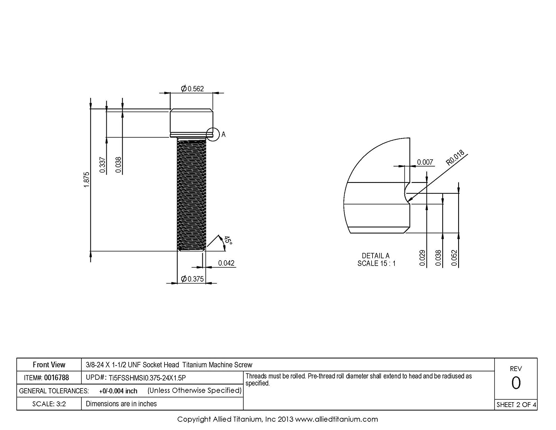 3//8-24 X 1-1//2 UNF Socket Head Machine Screw Ti-6Al-4V Pack of 4 Grade 5 Inc Allied Titanium 0016788, 673753001