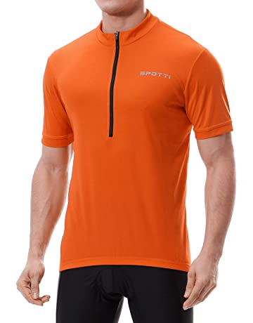a42a14b0884 Spotti Men s Cycling Bike Jersey Short Sleeve with 3 Rear Pockets- Moisture  Wicking