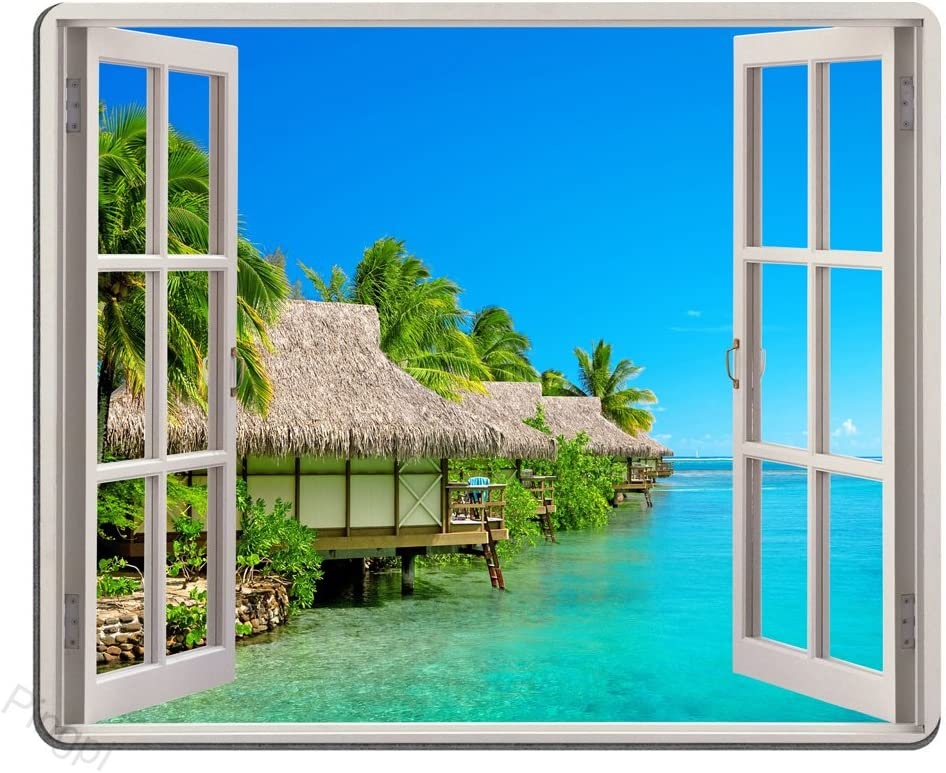 Sea View Mouse Pad Palm Trees Tropical Island Beach Nature Paradise Panoramic Picture Through Wooden Windows Scene Custom Design, 9.5 X 7.9 Inch (240mmX200mmX3mm)