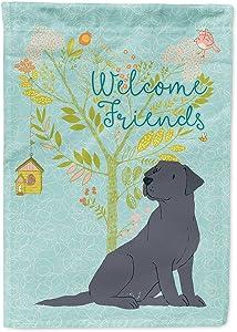 Caroline's Treasures BB7595GF Welcome Friends Black Labrador Retriever Flag Garden Size, Small, Multicolor